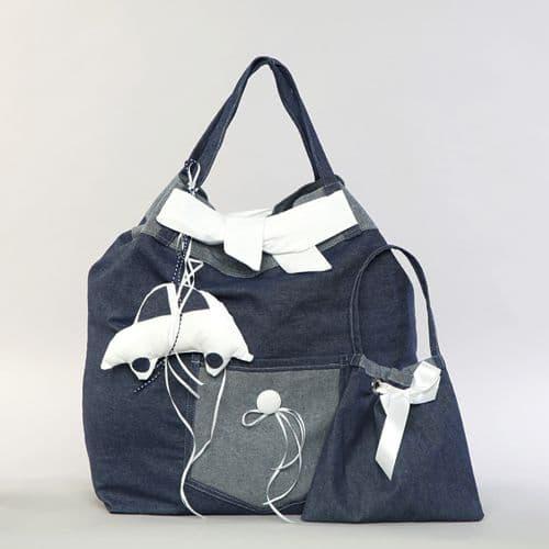 Christening blue jeans bag with car  / Τσάντα βάπτισης μπλουτζήν με αυτοκινητάκι