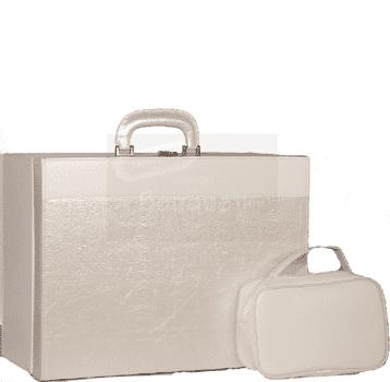 Christening box cream wrinkled leather / Κουτί βάπτισης βαλίτσα εκρού τσαλακωτή δερματίνη