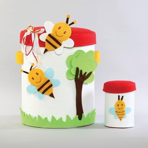 Christening box Felt & burlap bees / Κουτί Βάπτισης απο τσόχα και τσουβάλι με μελισσούλες
