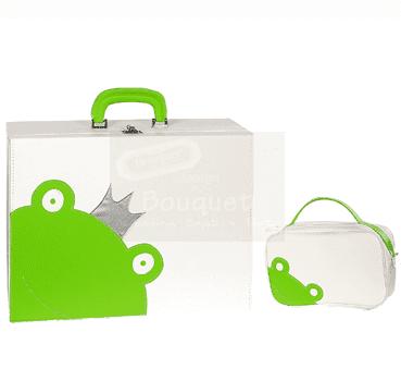 Christening box green frog / τσάντα βάπτισης βαλίτσα βάτραχος