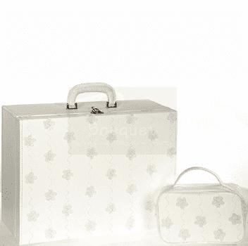 Christening box leather flowers / Τσάντα βάπτισης βαλίτσα λουλούδια