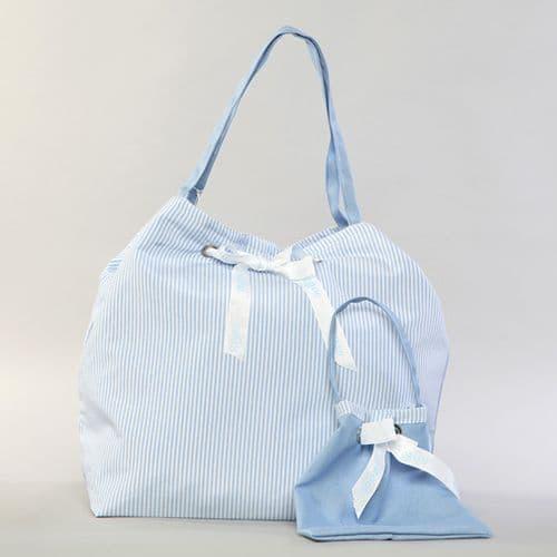 Christening double sided bag in blue  / Γαλάζια τσάντα βάπτισης διπλής όψης