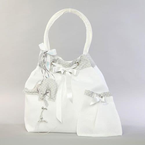 Christening pleated taffeta bag with elephant  / Τσάντα βάπτισης πλισέ ταφτάς με ελεφαντάκι