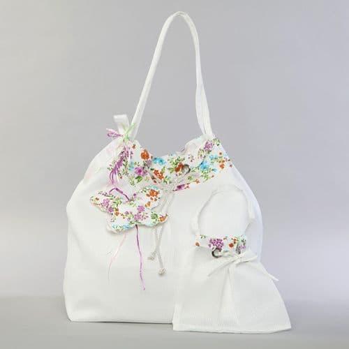 Christening pleated taffeta bag with flowers / Τσάντα βάπτισης απο πλισέ ταφτά με λουλουδάκια