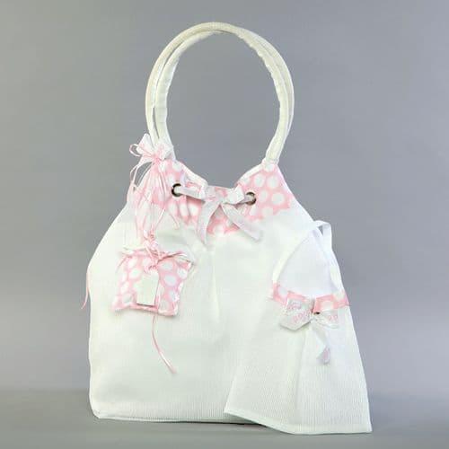 Christening pleated taffeta bag with house  / Τσάντα βάπτισης απο πλισέ ταφτά με σπιτάκι