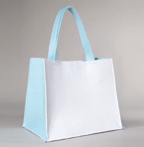 Christening white and light blue bag / Άσπρη και γαλάζια τσόχινη τσάντα βάπτισης