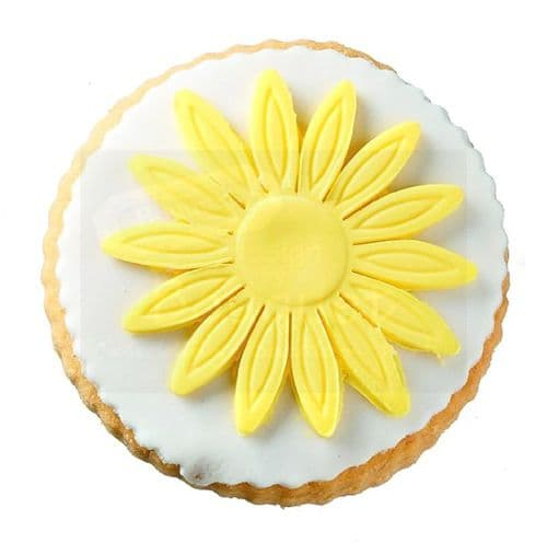 Cookie round with a daisy / Μπισκότο βάπτισης στρόγγυλο με μαργαρίτα