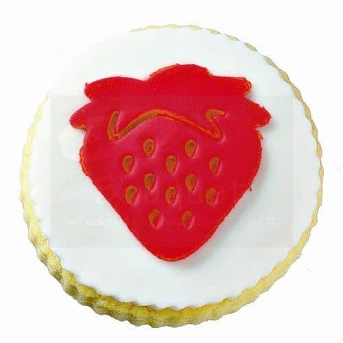 Cookie round with a strawberry / Μπισκότο βάπτισης στρόγγυλο με φραουλίτσα