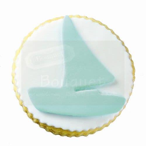Cookie round with boat / Μπισκότο βάπτισης στρόγγυλο με καραβάκι