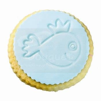 Cookie round with embossed fish / Μπισκότο στρόγγυλο με ανάγλυφo ψαράκι