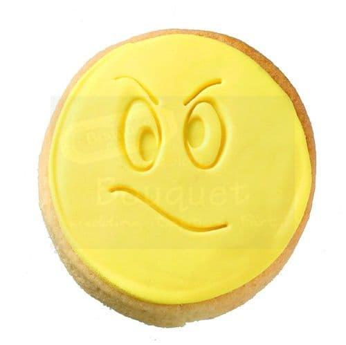 Cookie round with embossed grumpy face / Μπισκότο στρόγγυλο με ανάγλυφη  φατσούλα γκρινιάρη