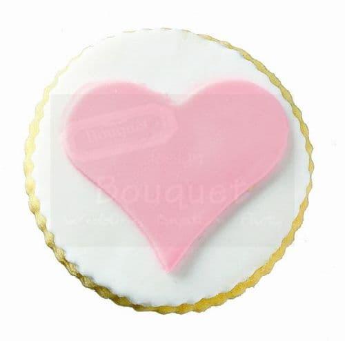 Cookie round with heart / Μπισκότο βάπτισης στρόγγυλο με καρδιά