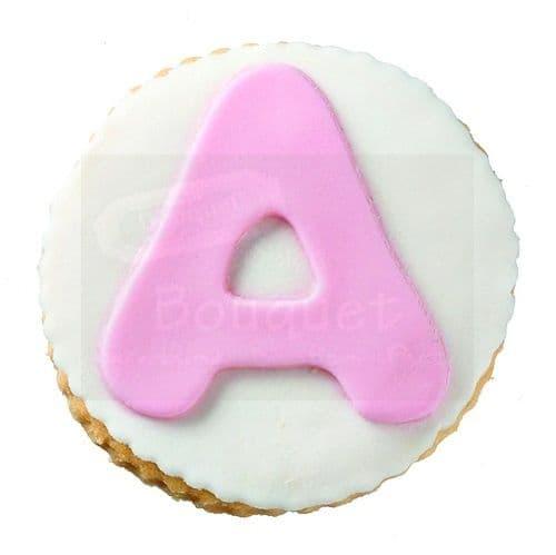 Cookie round with Letter (English) / Μπισκότο βάπτισης στρόγγυλο με μονόγραμμα (Αγγλικά)
