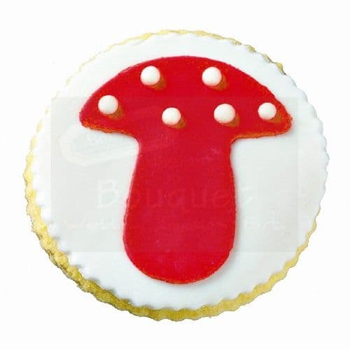cookie round with mushroom / Μπισκότο βάπτισης στρόγγυλο με μανιτάρι