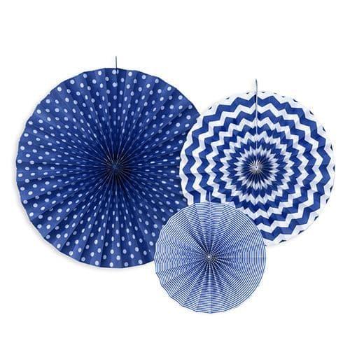 Dark Blue Paper Rosettes Set of 3 - Σκουρο Μπλε Χαρτινες ροζετες Σετ των 3