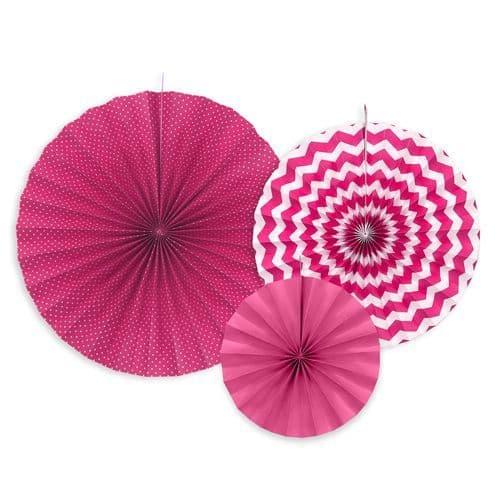 Fucsia Paper Rosettes Set of 3 - Φούξια Χαρτινες ροζετες Σετ των 3