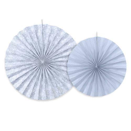 Grey - Blue Paper Rosettes Set of 2 - Γκρι - Μπλε Χαρτινες ροζετες Σετ των 2