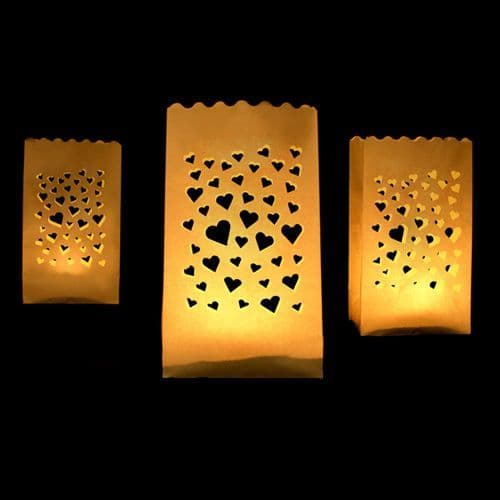 Hearts Paper Lanterns 11.5X7X19cm Pack of 10 / Χαρτινα Φαναρια Καρδια 11.5Χ7Χ19εκ. Σετ των 10