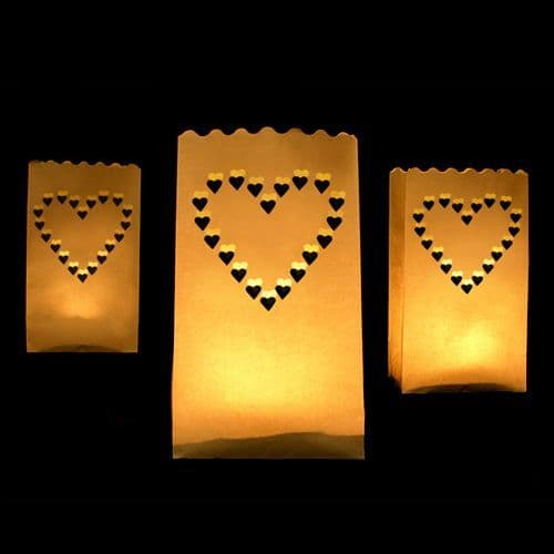 Hearts Paper Lanterns 15X9X26cm Pack of 10 / Χαρτινα Φαναρια Καρδια 15Χ9Χ26εκ. Σετ των 10