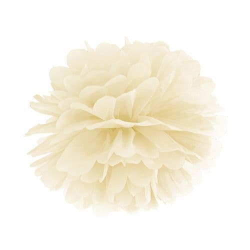 Ivory Paper Pom Pom 35cm - Εκρου Χαρτινο Πομ Πομ 35εκ.