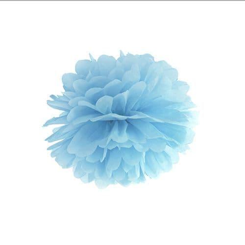 Light Misty Blue Paper Pom Pom 25cm - Ομιχλωδες Γαλαζιο Χαρτινο Πομ Πομ 25εκ.