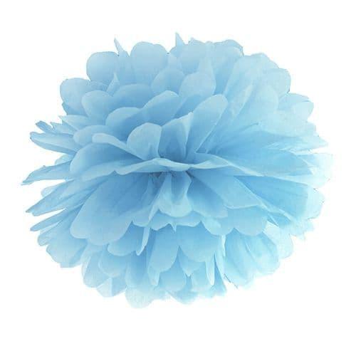 Light Misty Blue Paper Pom Pom 35cm - Ομιχλωδες Γαλαζιο Χαρτινο Πομ Πομ 35εκ.