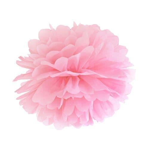 Light Pink Paper Pom Pom 35cm - Ανοιχτο Ροζ Χάρτινο Πομ Πομ 35εκ.