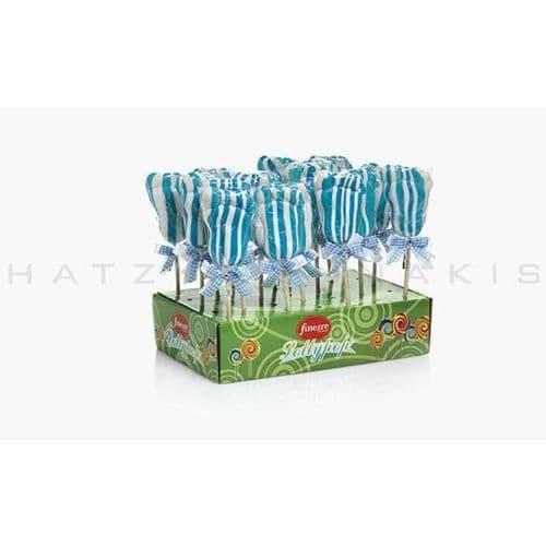Lollipops Bodyfoot white-blue (Set of 20) - Γλειφιτζούρια Πατουσίτσες λευκό-σιέλ Χατζηγιαννάκη (Σετ των 20)