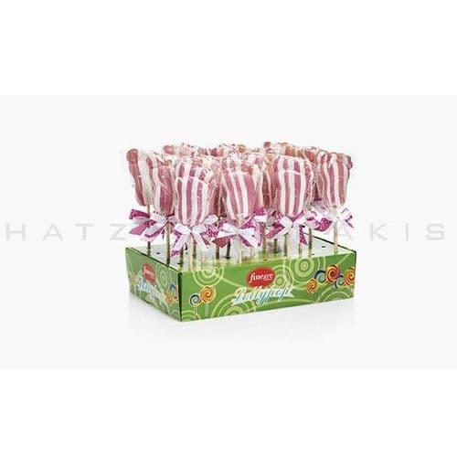 Lollipops Bodyfoot white-pink (Set of 20) - Γλειφιτζούρια Πατουσίτσες λευκό-ροζ Χατζηγιαννάκη (Σετ των 20)