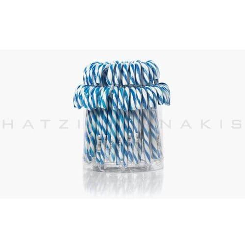 Lollipops Candy cane white - blue  (Set of 72) - Γλειφιτζούρια μπαστουνάκια λευκό-μπλέ Χατζηγιαννάκη (Σετ των 72)