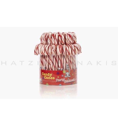 Lollipops Candy cane white - pink  (Set of 72) - Γλειφιτζούρια μπαστουνάκια λευκό-ροζ Χατζηγιαννάκη (Σετ των 72)