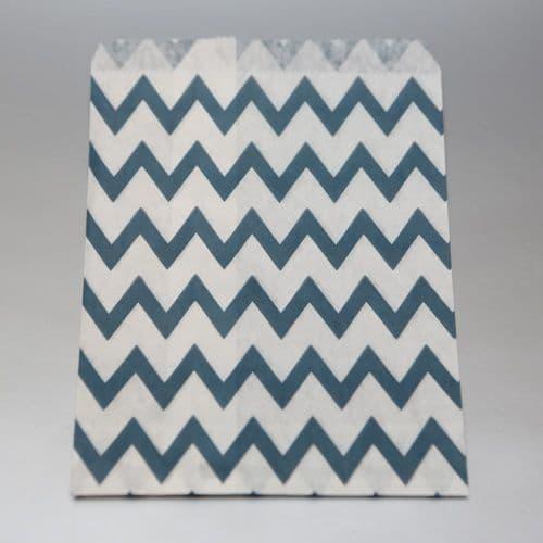 Navy blue Chevron Party bitty bags Set of 25/ Μπλέ ζικζακ χαρτινα σακουλακια Σετ των 25