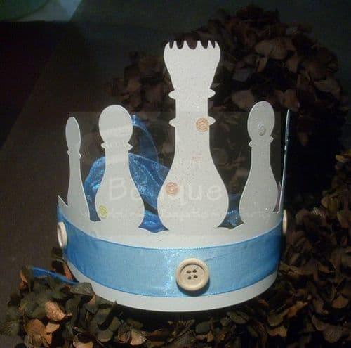 Paper crown chess pawn blue (set of 12) / Κορώνα χάρτινη πιόνια σκάκι μπλέ για παιδιά (σετ των 12)