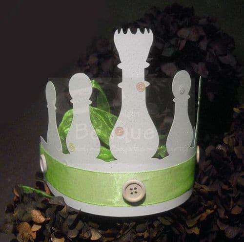 Paper crown chess pawn green (set of 12)/Κορώνα χάρτινη πιόνια σκάκι πράσινη για παιδιά (σετ των 12)