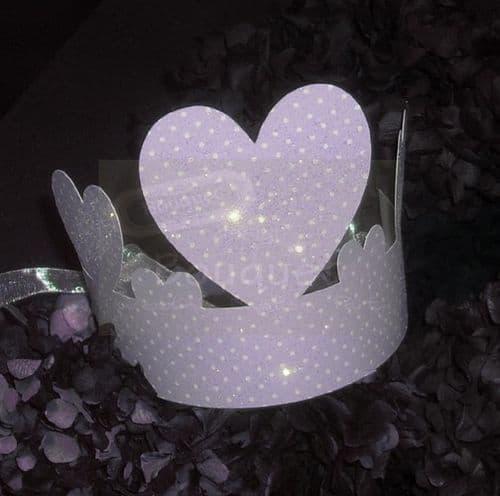 Paper crown lilac with dots for kids (set of12)/Κορώνα χάρτινη λιλά με πουα για παιδιά (σετ των 12)