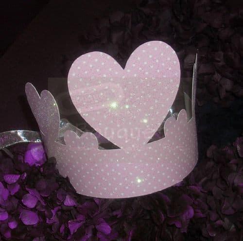 Paper crown pink with dots for kids (set of 12) / Κορώνα χάρτινη ροζ με πουα για παιδιά (σετ των 12)
