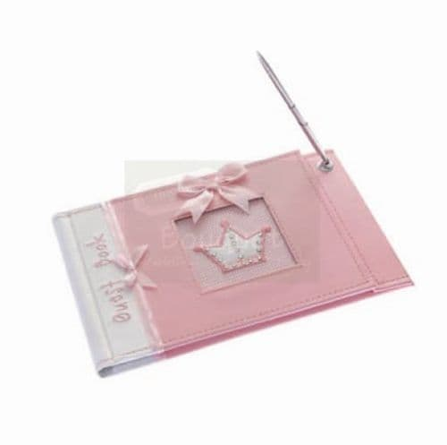 Pink Baptism guest book with pen / Ροζ Βιβλίο ευχών βάπτισης με στυλό