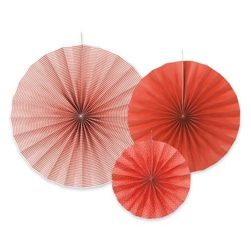 Red Paper Rosettes Set of 3 - Κοκκινες Χαρτινες ροζετες Σετ των 3