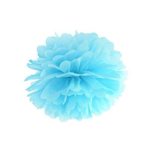Sky Blue Paper Pom Pom 25cm - Σιελ Χαρτινο Πομ Πομ 25εκ.