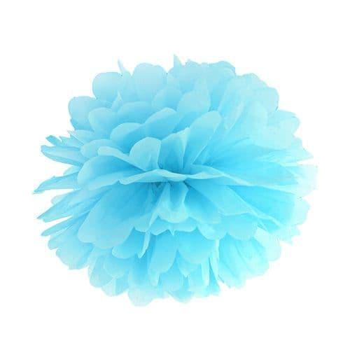 Sky Blue Paper Pom Pom 35cm - Σιελ Χαρτινο Πομ Πομ 35εκ.