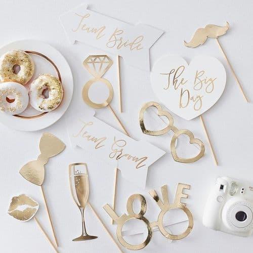 Wedding gold photo props Σετ των 10