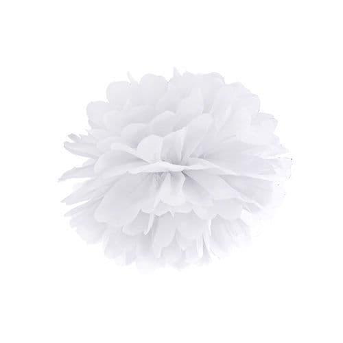 White Paper Pom Pom 25cm - Λευκο Χαρτινο Πομ Πομ 25εκ.