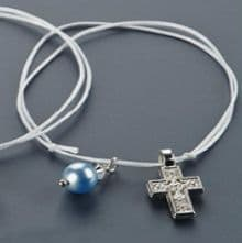 Witness pins bracelets with a crystal 50pcs / Μαρτυρικά βραχιολάκια με γαλάζια πέρλα 50τμχ