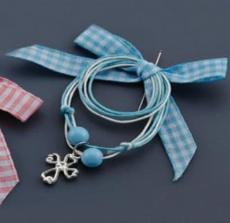 Witness pins with chequered ribbon 50pcs / Μαρτυρικά με καρό κορδέλα - Γαλάζιο 50τμχ