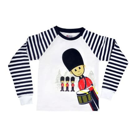 BR7033 Stripe Long Sleeve Top with Plush Bearskin Hat