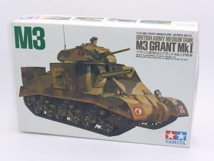 Vintage Tamiya 1/35th Plastic Kit No 3541- M3 Grant Mk I British Army Medium Battle Tank