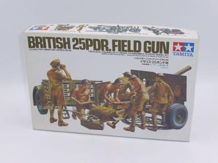 Vintage Tamiya Kit 35046 WW2 British 25 Pdr. Field Gun with Limber & Crew 1/35th