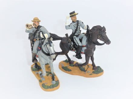 WB17402 Confederate Bugler & Sergeant Mounted