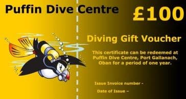 PDC DIVING GIFT VOUCHER £100