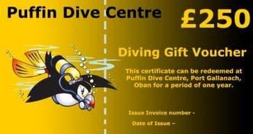 PDC DIVING GIFT VOUCHER £250